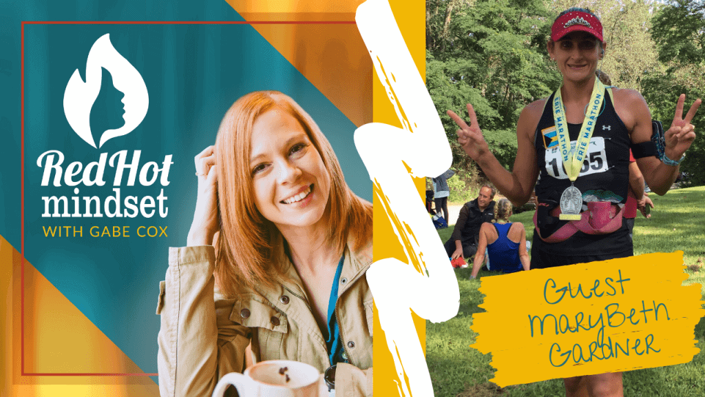 red hot mindset podcast cover photo (white red hot mindset logo with a face in a flame, woman smiling with medium red hair and one hand in her hair and khaki jacket, teal and yellow background), right side is a woman with brown hair pulled back giving peace signs with both hands, wearing a black tank and shorts outside after a running race