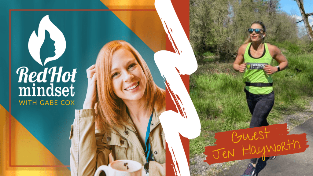 red hot mindset podcast cover photo (white red hot mindset logo with a face in a flame, right side is a woman running on a trail with greenery around her, wearing sunglasses, a bright green tank and black leggings.