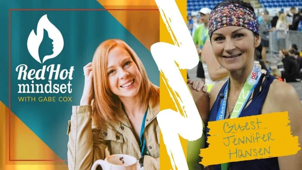 red hot mindset podcast cover photo (white red hot mindset logo with a face in a flame, woman smiling with medium red hair and one hand in her hair and khaki jacket, teal and yellow background), right side is a woman smiling with her brown hair pulled back and a colorful headband on her head, wearing a purple tank with a race medal around her neck after finishing a running race.