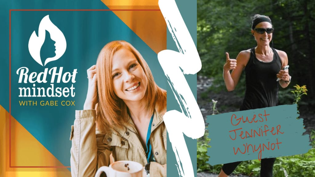 red hot mindset podcast cover photo (white red hot mindset logo with a face in a flame, woman smiling with medium red hair and one hand in her hair and khaki jacket, teal and yellow background), right side is a woman smiling and running in nature giving a thumbs up, wearing a black headband, black tank, and black capris holding her phone in her other hand.