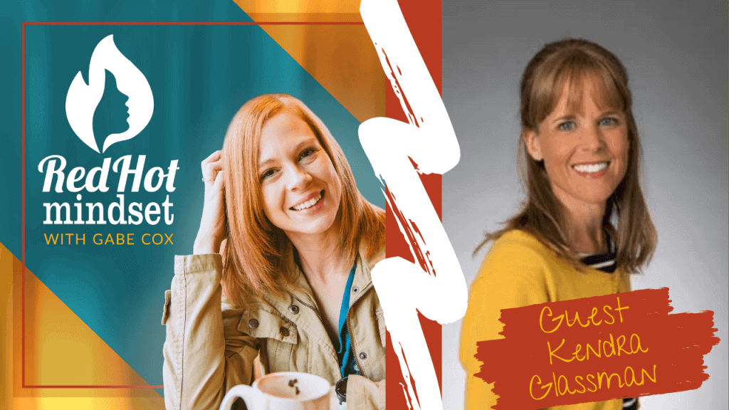 red hot mindset podcast cover photo (white red hot mindset logo with a face in a flame, woman smiling with medium red hair and one hand in her hair and khaki jacket, teal and yellow background), right side woman smiling with medium brown hair wearing a yellow sweater