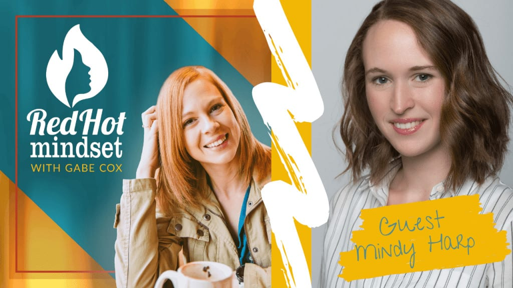 red hot mindset podcast cover photo (white red hot mindset logo with a face in a flame, woman smiling with medium red hair and one hand in her hair and khaki jacket, teal and yellow background), other hand is a woman with medium brown hair smiling in a striped white and gray button up shirt.