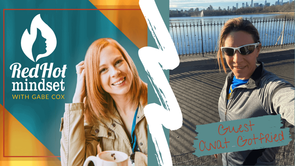 red hot mindset podcast cover photo (white red hot mindset logo with a face in a flame, woman smiling with medium red hair and one hand in her hair and khaki jacket, teal and yellow background), right side is a woman outside on a bridge over water with brown hair pulled back and sunglasses on out for a run, wearing a blue shirt and gray zip up long-sleeve