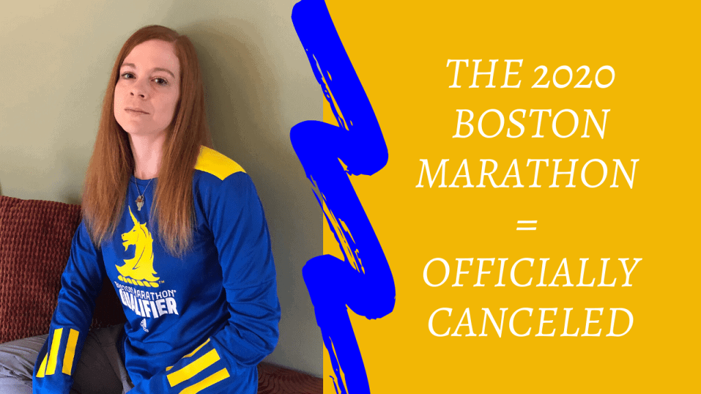 "woman with long red hair sitting on a bench with a greenish background, leaning her head on the wall, with a sad expression on her face. She's wearing a long sleeve blue and yellow shirt with the Boston Marathon logo on it. On the right is a yellow background with the words, ""The 2020 Boston Marathon = officially canceled."""