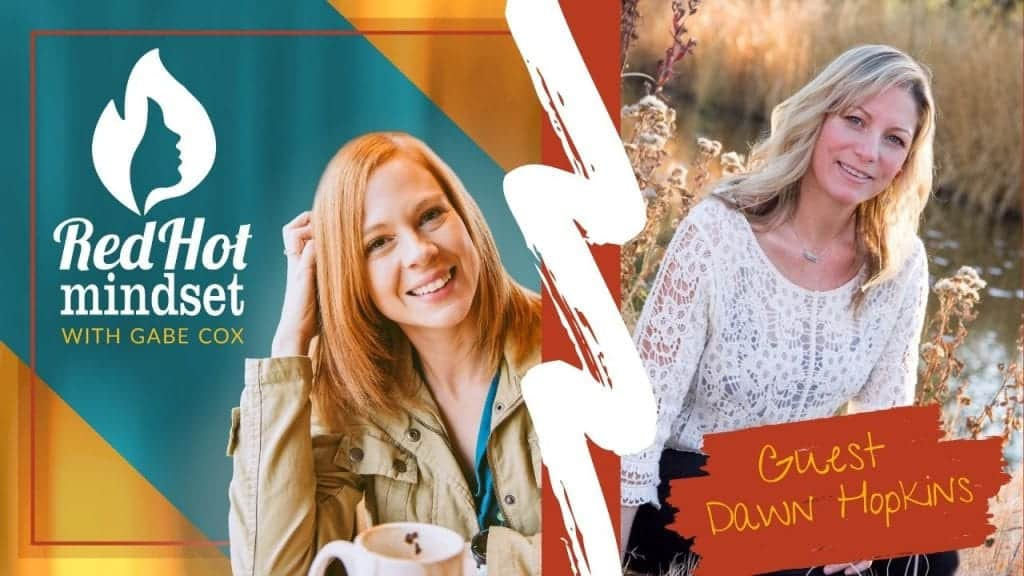 red hot mindset podcast cover photo (white red hot mindset logo with a face in a flame, woman smiling with medium red hair and one hand in her hair and khaki jacket, teal and yellow background), right side is a woman with medium blonde hair sitting in a field of wild flowers with a river behind her. She's wearing a white blouse with white flower designs and a silver necklace.