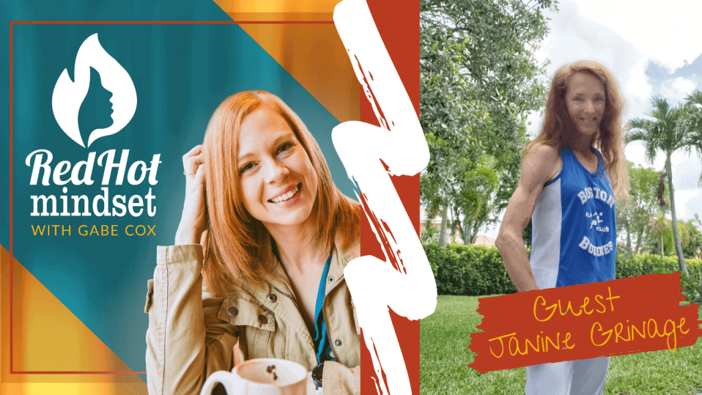 red hot mindset podcast cover photo (white red hot mindset logo with a face in a flame, woman smiling with medium red hair and one hand in her hair and khaki jacket, teal and yellow background), right side is a woman with long red hair standing sideways outside in nature with green trees and grass in the background, wearing her running clothes, a blue and white tank top and gray shorts.
