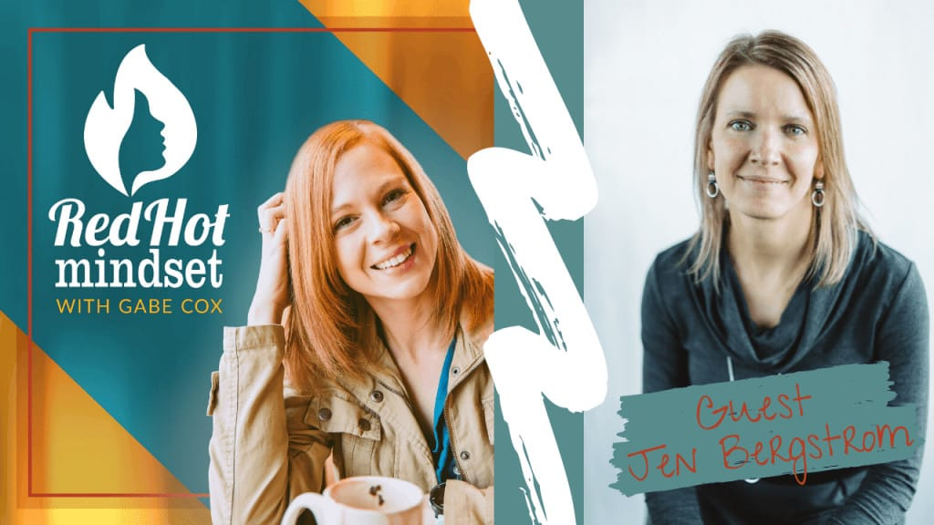 red hot mindset podcast cover photo (white red hot mindset logo with a face in a flame, woman smiling with medium red hair and one hand in her hair and khaki jacket, teal and yellow background), right side is a woman with medium-length blonde hair smiling with her mouth closed, wearing silver earrings and a gray sweater