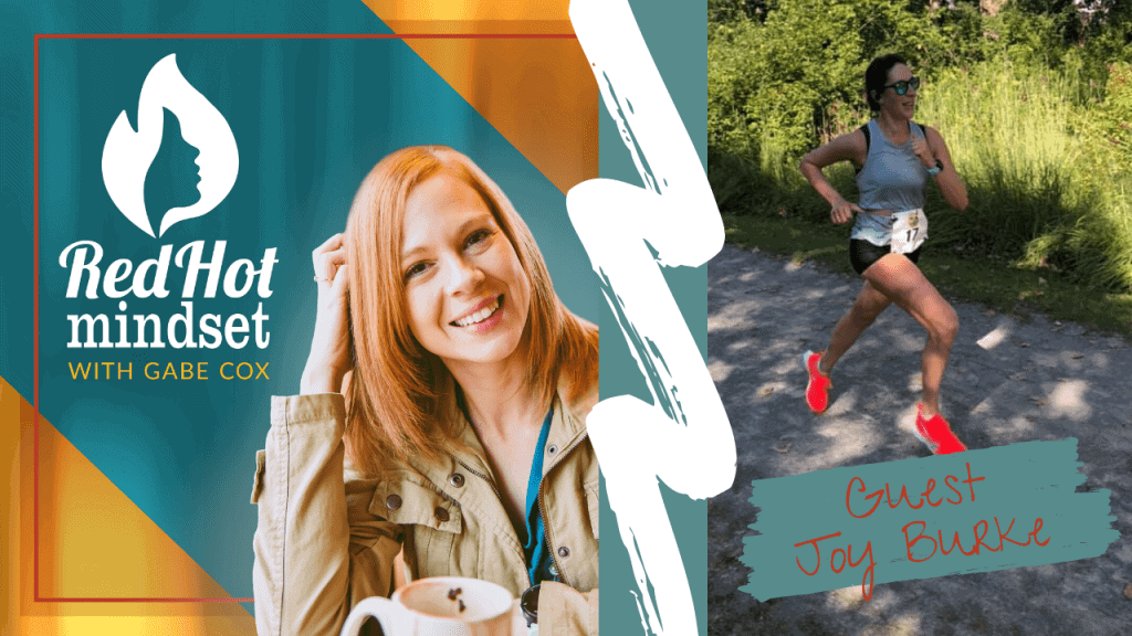red hot mindset podcast cover photo (white red hot mindset logo with a face in a flame, woman smiling with medium red hair and one hand in her hair and khaki jacket, teal and yellow background), right side is a woman with brown hair running on a trail outside wearing a gray tank top and black shorts and orange shoes wearing sunglasses.
