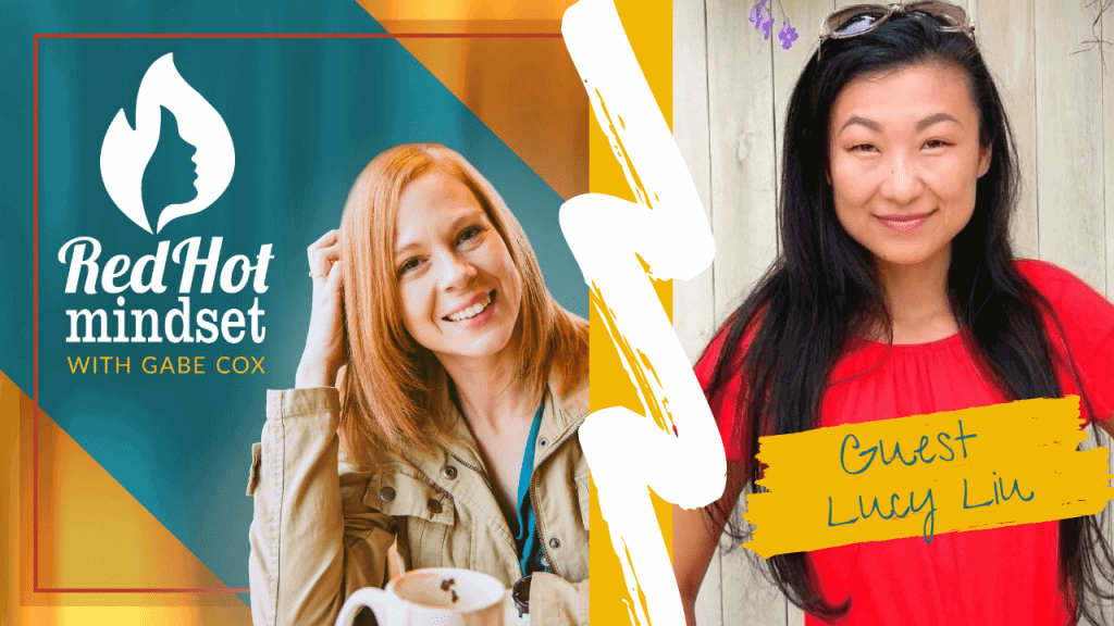 red hot mindset podcast cover photo (white red hot mindset logo with a face in a flame, woman smiling with medium red hair and one hand in her hair and khaki jacket, teal and yellow background), right side is an asian woman with long black hair smiling with her mouth closed in front of a light wood paneling, wearing a bright red short-sleeved shirt and sunglasses on her head.