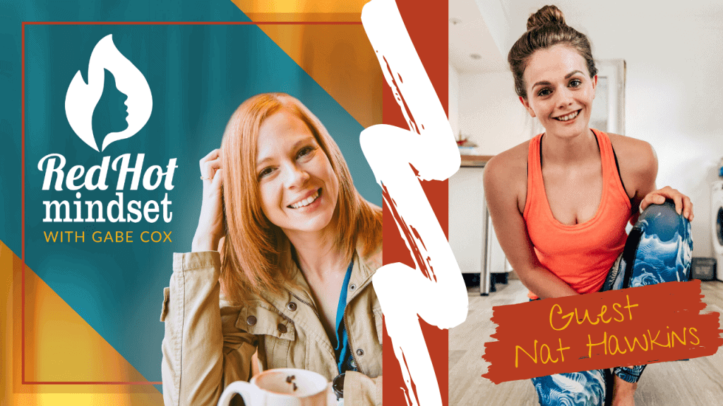 red hot mindset podcast cover photo (white red hot mindset logo with a face in a flame, woman smiling with medium red hair and one hand in her hair and khaki jacket, teal and yellow background), on the right is a woman with her long brown hair pulled back in a bun, wearing an orange tank and blue and white workout pants. She's smiling and kneeling