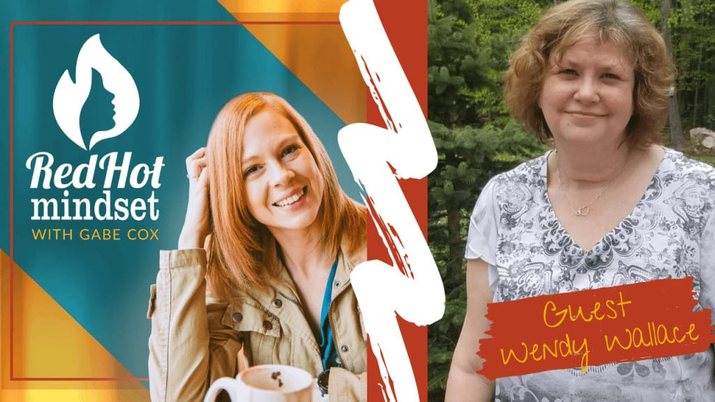 red hot mindset podcast cover photo (white red hot mindset logo with a face in a flame, woman smiling with medium red hair and one hand in her hair and khaki jacket, teal and yellow background), right side is a woman with short, dirt blonde curly hair smiling with her mouth closed in front of pine and green trees. She's wearing a gray and white short-sleeve shirt with designs on them.