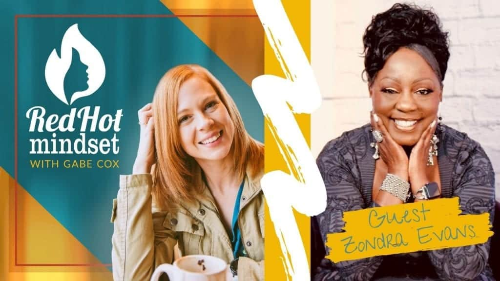 red hot mindset podcast cover photo (white red hot mindset logo with a face in a flame, woman smiling with medium red hair and one hand in her hair and khaki jacket, teal and yellow background), right side is a woman with long black hair pulled up in a cute style. She's sitting in front of a white brick wall with her hands resting on her chin and smiling big. She's wearing a gray/black sweater with designs and lots of rings, a bracelet, and watch