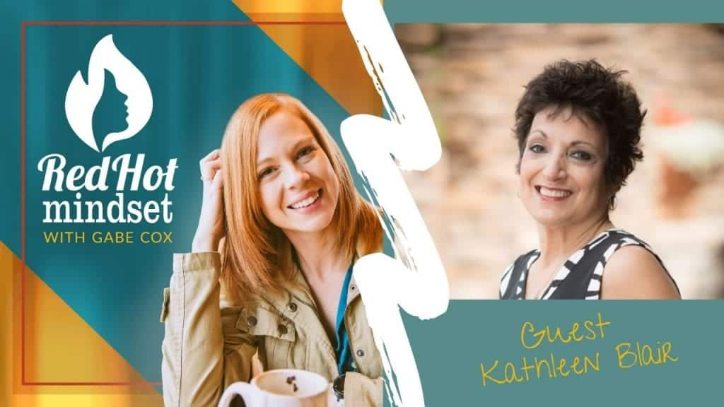 red hot mindset podcast cover photo (white red hot mindset logo with a face in a flame, woman smiling with medium red hair and one hand in her hair and khaki jacket, teal and yellow background), on the right side is a woman with short black hair turned to the side looking forward with a smile on her face. She's wearing a black tank-style dress with a white and black border. The background is blurred out