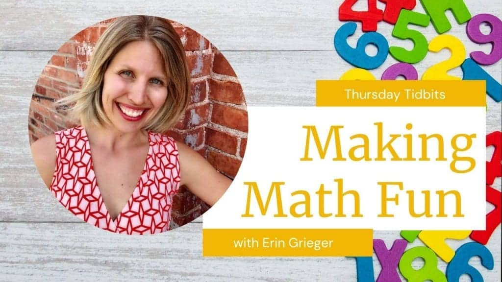 """gray wooden background with colorful number blocks on the right side and a circle picture of a woman with short blonde hair and red lipstick smiling wearing a red and white designed dress. The words """"making math fun"""" are displayed in yellow with a white background."""
