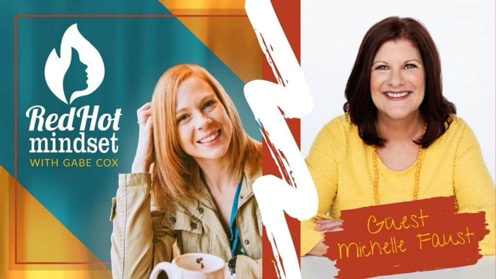 red hot mindset podcast cover photo (white red hot mindset logo with a face in a flame, woman smiling with medium red hair and one hand in her hair and khaki jacket, teal and yellow background), on the right side is a woman with medium brown hair smiling, wearing a bright yellow blouse and a long yellow beaded necklace
