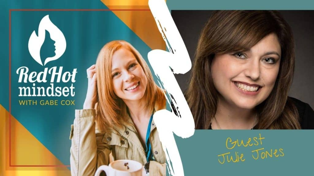 red hot mindset podcast cover photo (white red hot mindset logo with a face in a flame, woman smiling with medium red hair and one hand in her hair and khaki jacket, teal and yellow background), Right side is a headshot of woman with long brown hair smiling
