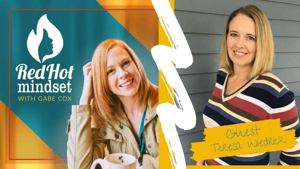 red hot mindset podcast cover photo (white red hot mindset logo with a face in a flame, woman smiling with medium red hair and one hand in her hair and khaki jacket, teal and yellow background), on the right side is a picture of a woman smiling with medium blonde hair and a colorful striped shirt