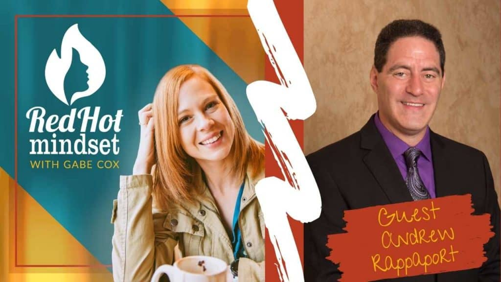 on the left is the red hot mindset podcast cover photo (white red hot mindset logo with a face in a flame, woman smiling with medium red hair and one hand in her hair and khaki jacket, teal and yellow background), on the right is a Man with short, dark brown hair smiling wearing a black suit with a purple undershirt and purple designed tie.