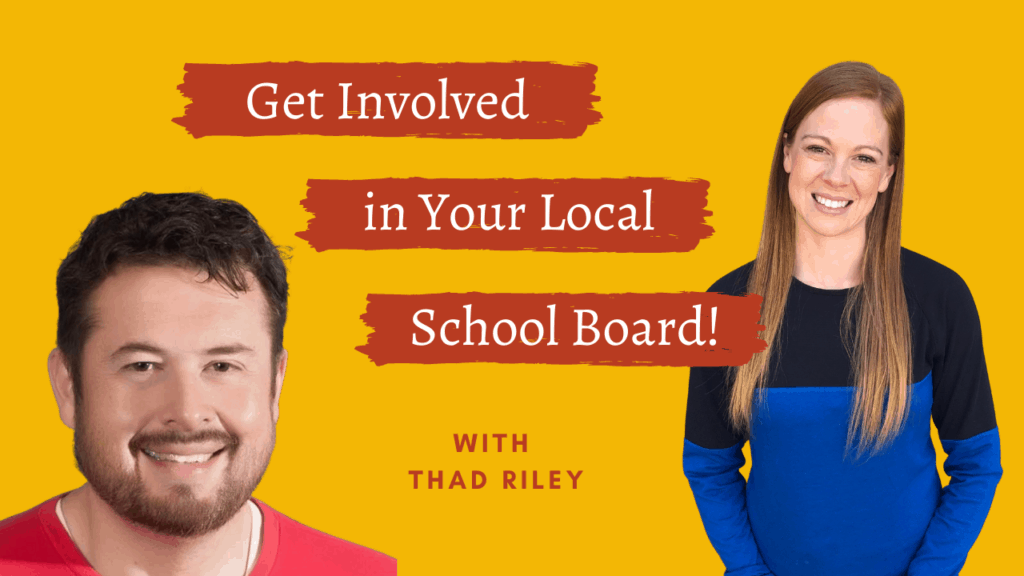 Picture of man with short brown hair, facial hair, and a red shirt on the left side and a woman with long red hair and a black and blue long-sleeve shirt on the right. The titles in white with a red background saying Get Involved in Your Local School Board between them.