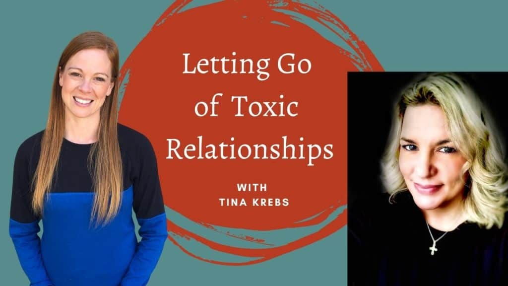 """teal background with a red squiggle circle in the middle and the title """"Letting Go of Toxic Relationships"""" written in white. On the left is a woman with long red hair smiling, wearing a black and blue long-sleeve shirt. On the right is a woman with medium blonde hair smiling and wearing a black shirt."""