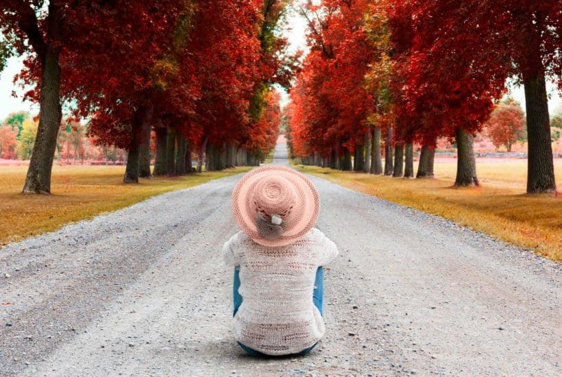 Woman sitting with back to you on the gravel road wearing a pink brimmed hat staring off into the distance of red-colored trees lining the road